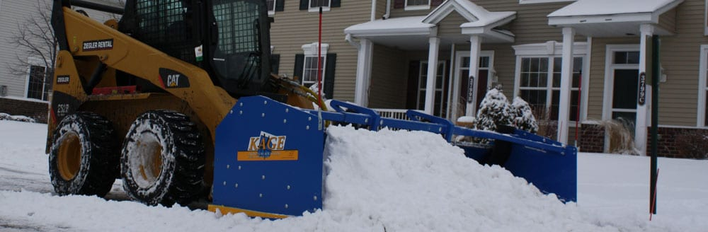 Innovative skidsteer snow plow attachments